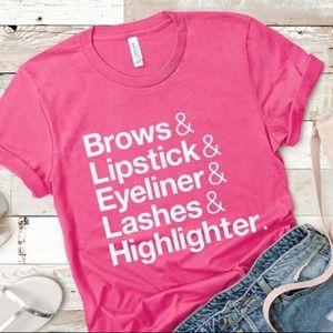 Makeup Themed Pink TShirt - Lipstick Eyelashes NEW